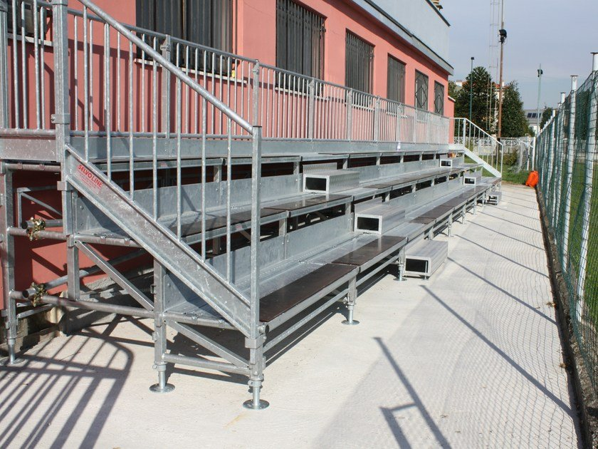 Modular system for steel platform and stand 3 ROW COMPATTA TRIBUNE by SELVOLINA