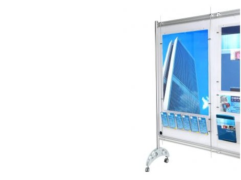 Floor-standing display unit with casters MW DISPLAY by GEPROM design