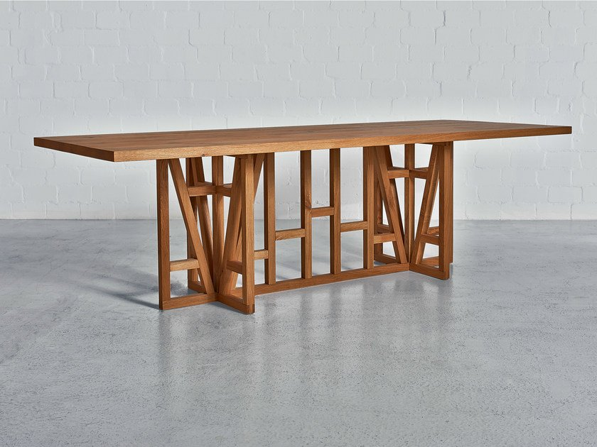 Rectangular solid wood table FACHWERK | Rectangular table by Vitamin Design