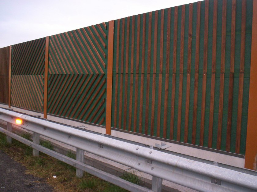 Road noise barrier AKUWOOD by Sitav Costruzioni
