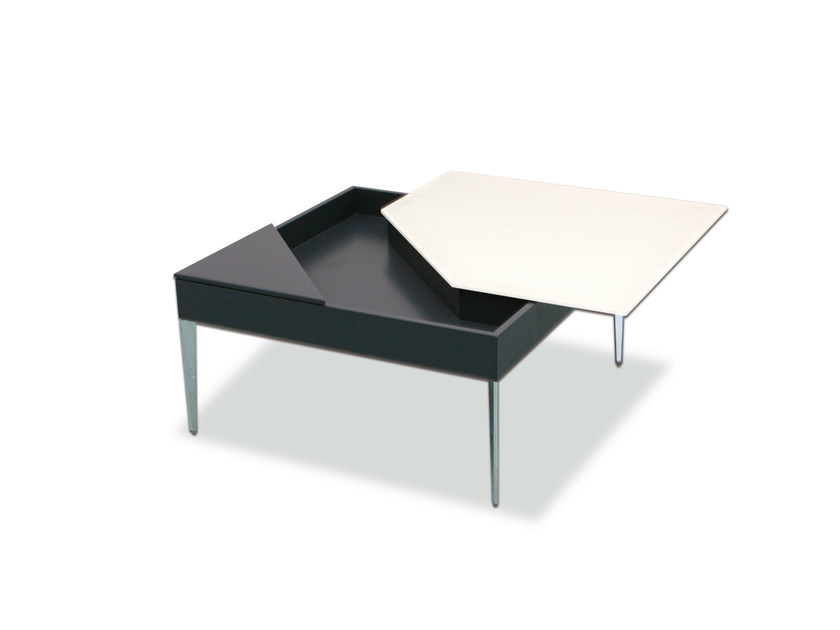 Design coffee table with integrated magazine rack for living room MIRA by Ronald Schmitt