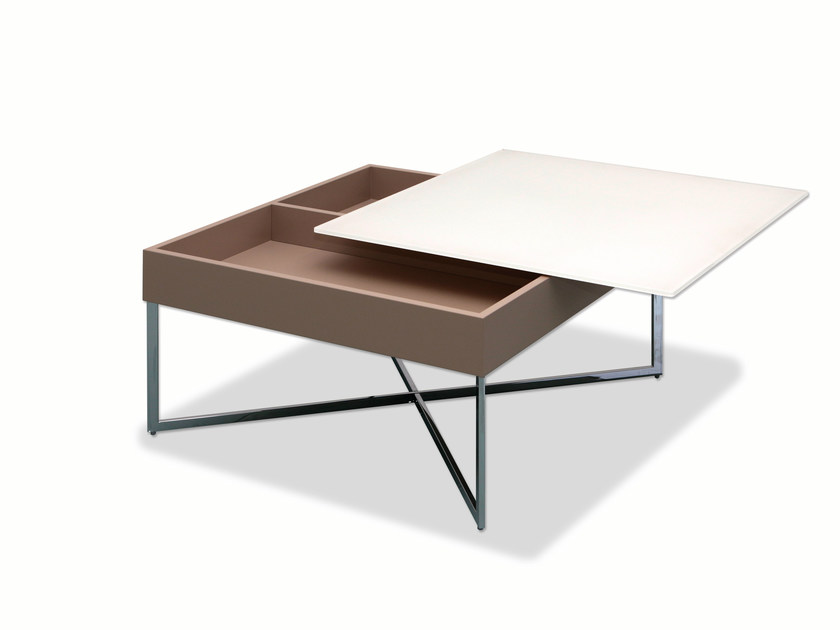 Coffee table with integrated magazine rack WEGA by Ronald Schmitt
