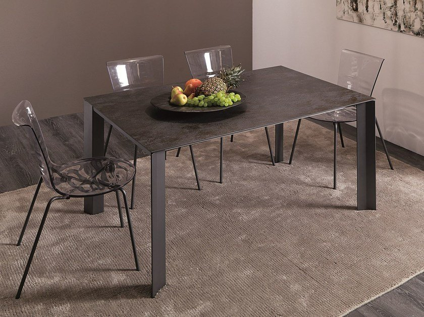 Extending rectangular steel dining table WING by Ozzio Italia
