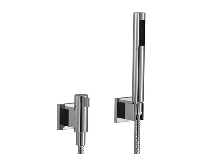 Wall-mounted chrome-plated handheld shower with hose SYMETRICS by Dornbracht