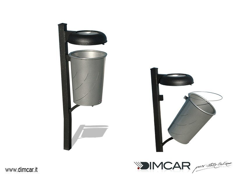 Outdoor metal litter bin with lid with ashtray Cestino Idea by DIMCAR