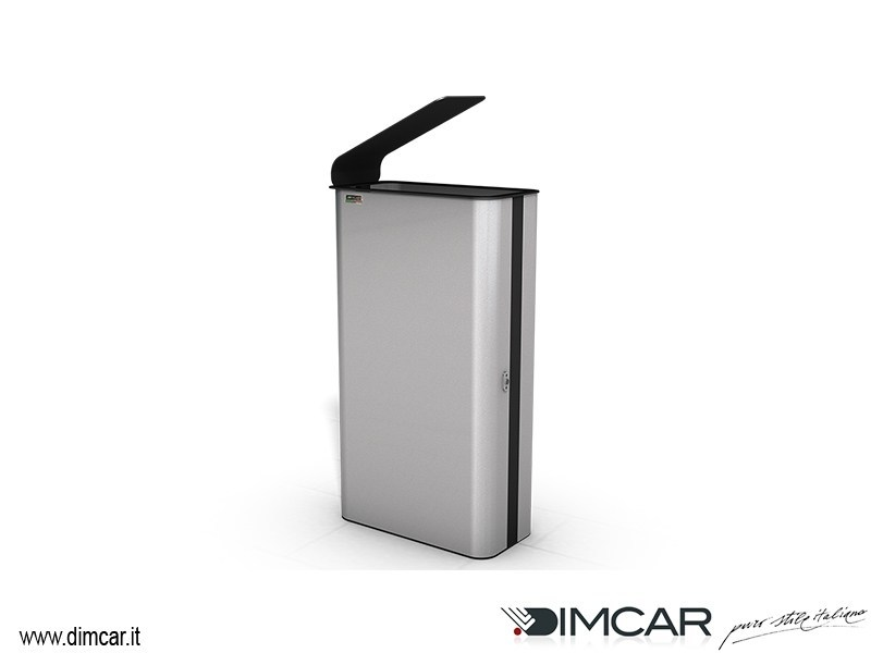 Outdoor metal litter bin with lid Paint Black by DIMCAR