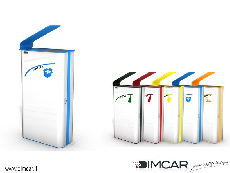 Metal litter bin with lid for waste sorting Cestone Paint by DIMCAR