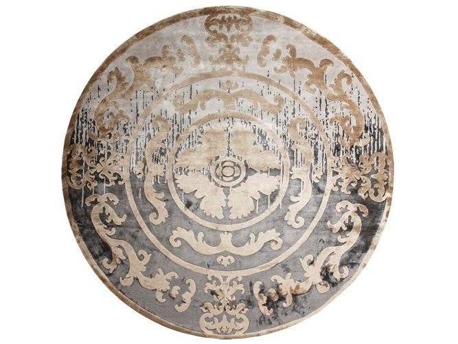 Handmade round rug POMPADOUR SHADOW ROND by EDITION BOUGAINVILLE