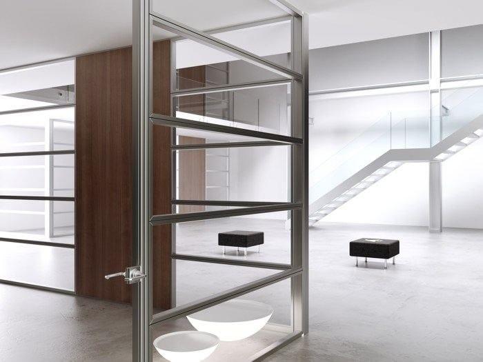 Parete mobile in alluminio e vetro per ufficio allinone by for Mobile per ufficio
