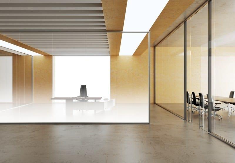 Cloison amovible de bureau en aluminium et verre allinone by mascagni - Cloison aluminium bureau ...