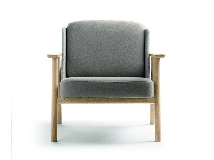 Upholstered fabric easy chair with armrests LASAI | Easy chair by ALKI