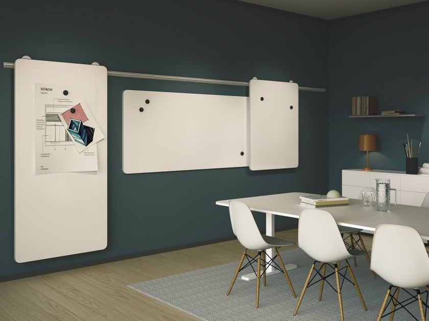 Wall-mounted sliding office whiteboard MOOW by Abstracta