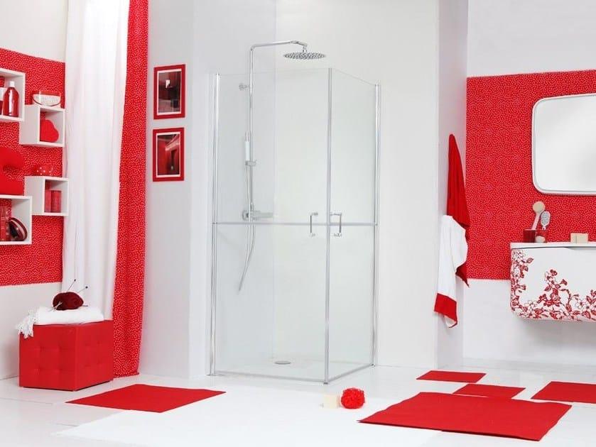 Corner glass shower cabin with hinged door WEB 5.0 by MEGIUS