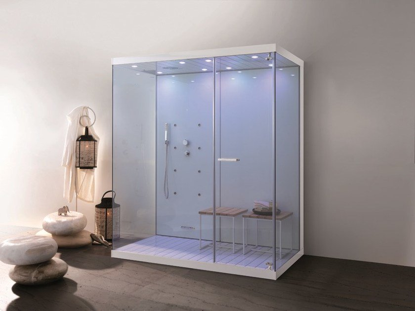 Multifunction glass and aluminium shower cabin WELLBOX by MEGIUS