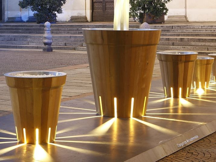 Wooden Flower pot with light LITI by DDF
