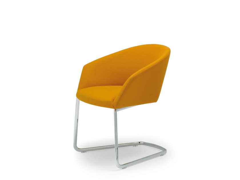 Cantilever upholstered chair with armrests BRANDY | Cantilever chair by Andreu World