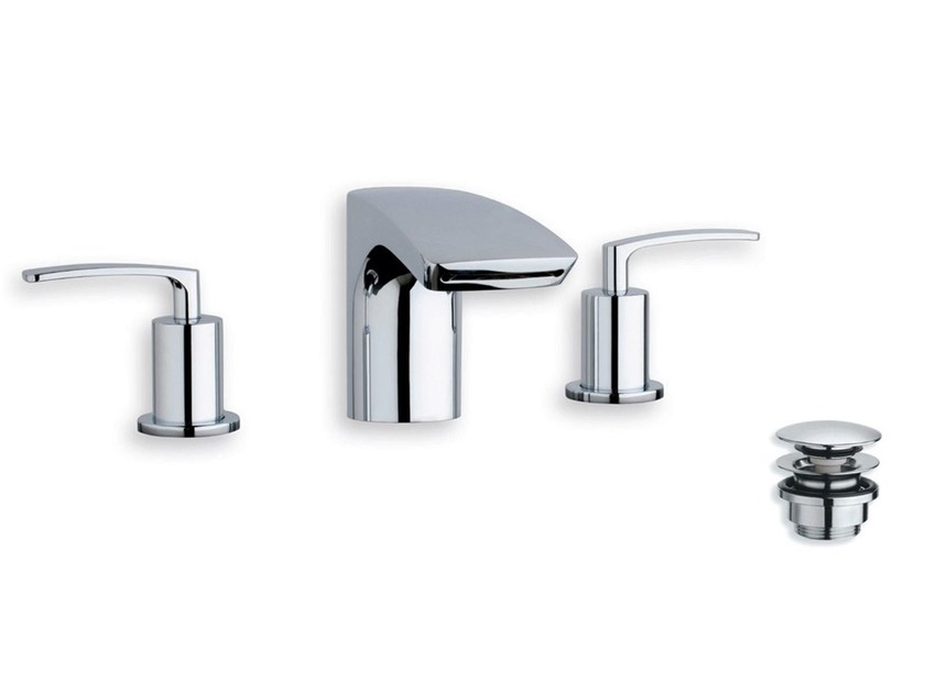 3 hole bidet tap with automatic pop-up waste BOLLICINE by CRISTINA