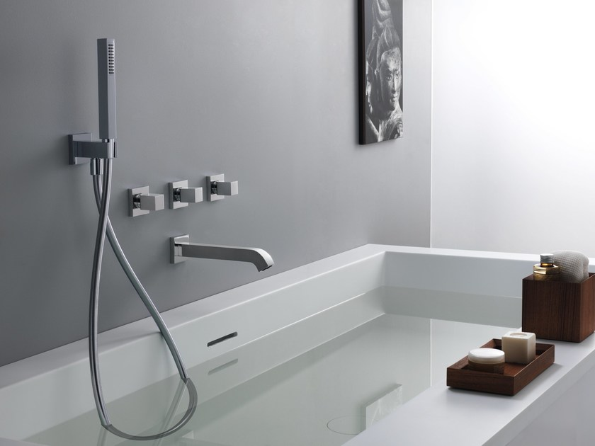 Wall-mounted bathtub set with hand shower QUADRI By CRISTINA