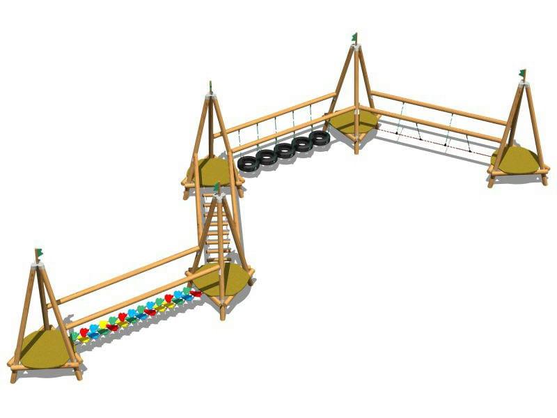 Wooden Overhead ladder EASY ADVENTURE 5 by Legnolandia