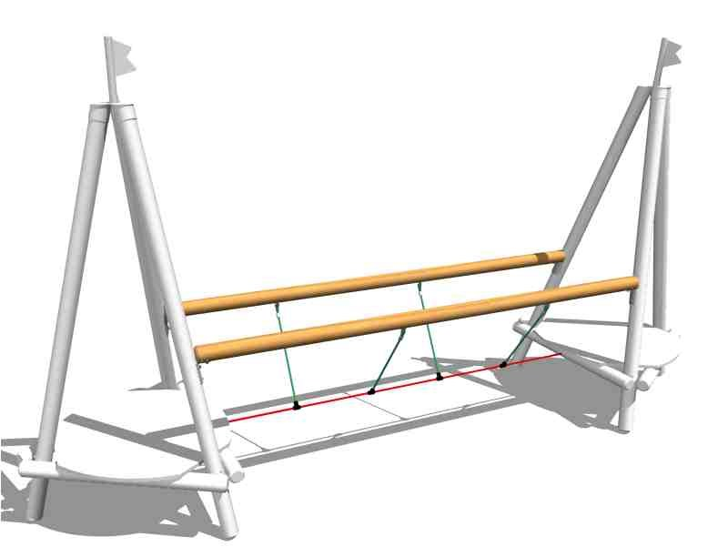 Wooden Overhead ladder CROSS ROPE BRIDGE by Legnolandia