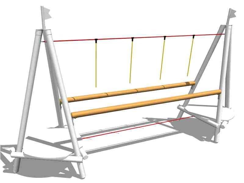 Wooden Overhead ladder TIGHT ROPE BRIDGE by Legnolandia
