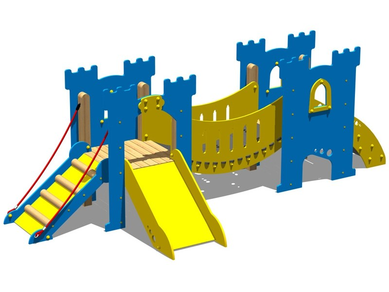 Polyethylene Slide / Overhead ladder CASTELLO SALADINO by Legnolandia