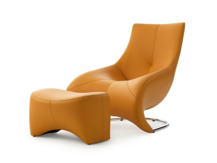 Upholstered armchair with footstool DARIUS by LEOLUX