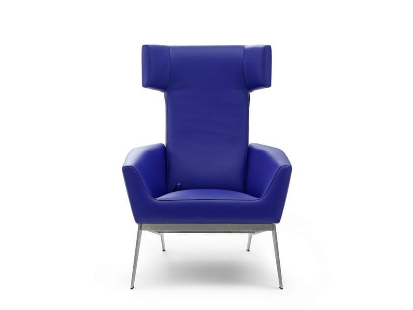 Leather wingchair ELIXIR by LEOLUX