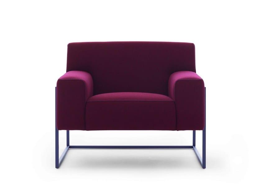 Upholstered fabric armchair ADARTNE by LEOLUX