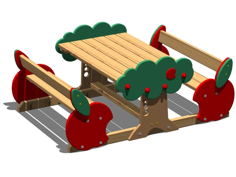 Pine Table for public areas with integrated benches MELA | Table for public areas with integrated benches by Legnolandia