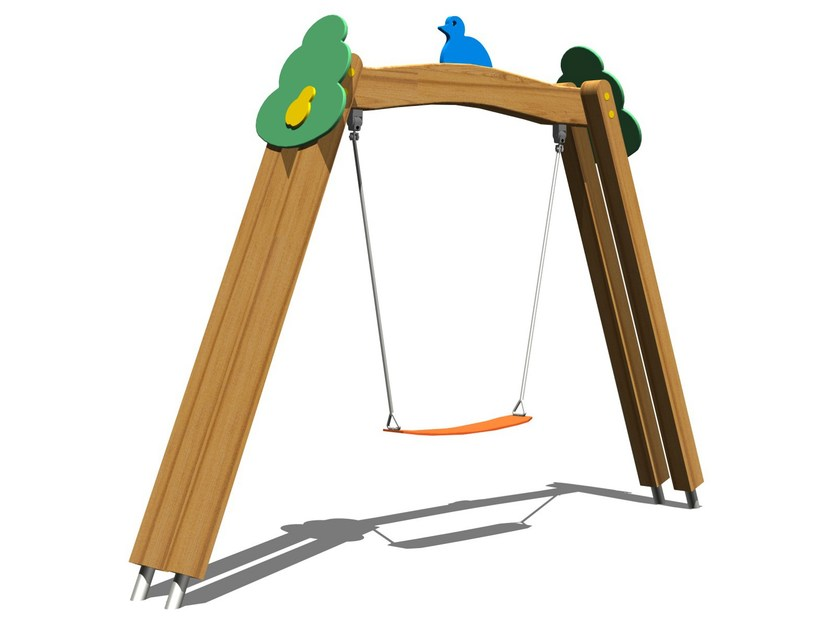 Stainless steel and wood Seesaw TREE SWING by Legnolandia