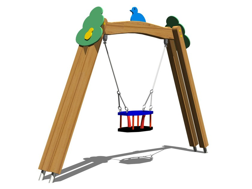 Stainless steel and wood Seesaw TREE SWING SECUR by Legnolandia