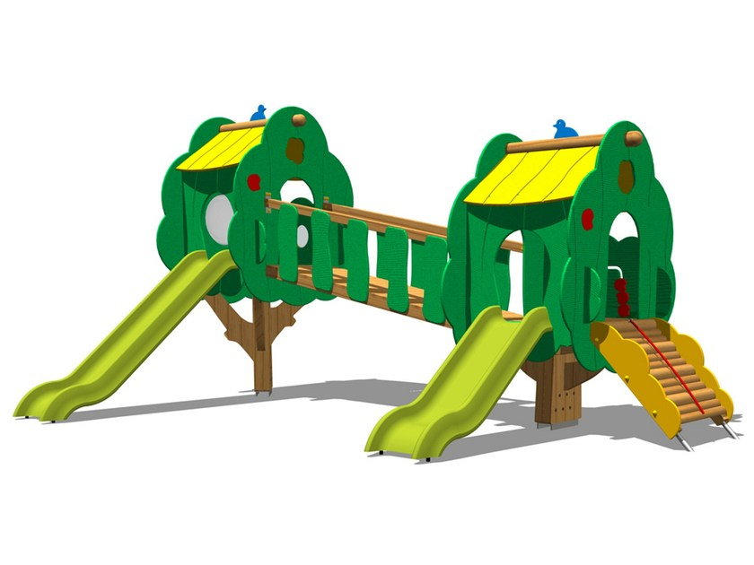 Polyethylene Slide / Overhead ladder TREE CASTLE 7 by Legnolandia