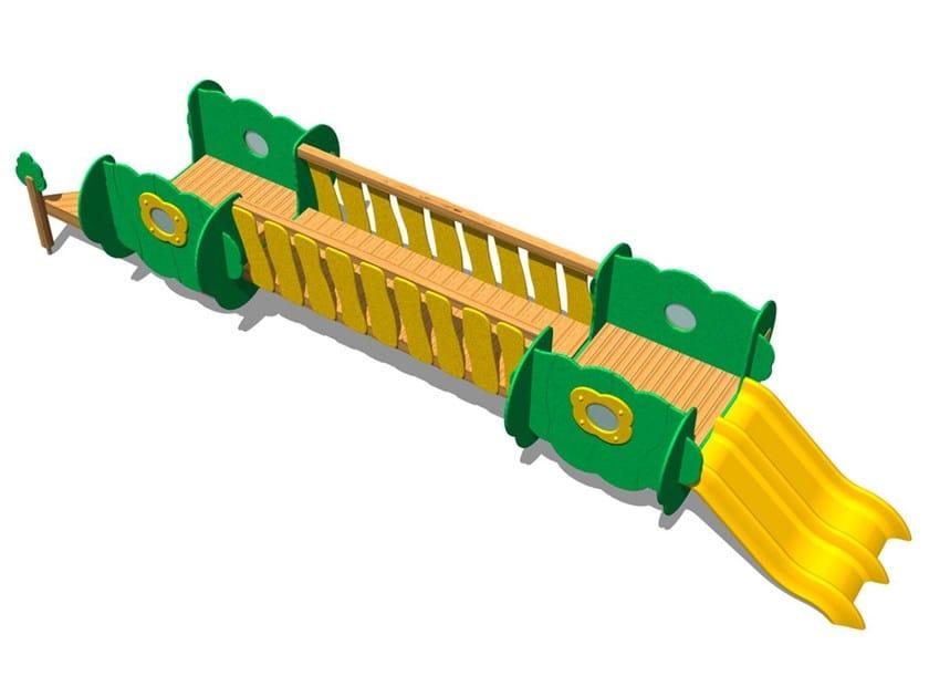 Wooden Slide / Overhead ladder TREE CASTLE 1 by Legnolandia