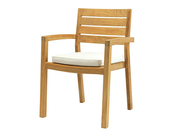 Stackable teak garden chair with armrests AMBRA | Garden chair with armrests by Ethimo