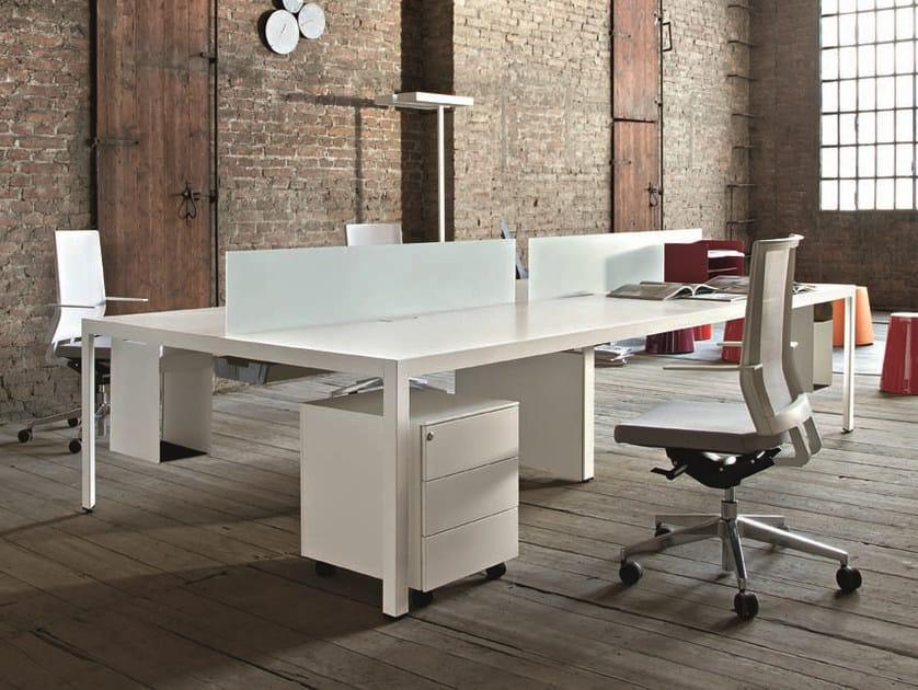Sectional rectangular workstation desk FRAME + OPERATIVE by Sinetica