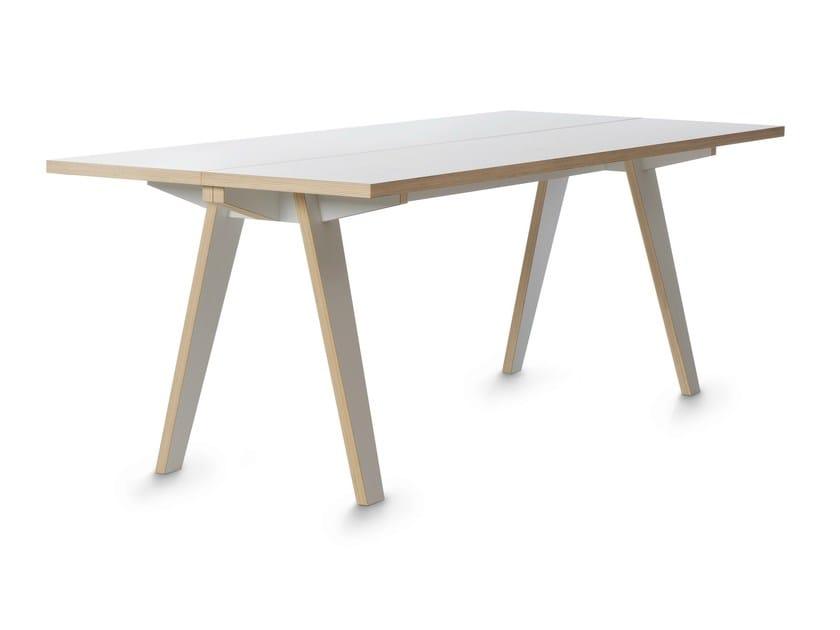 Rectangular birch table STECK by Tojo Möbel