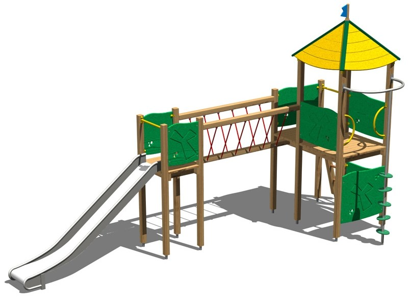 Stainless steel and wood Play structure CASTELLO ALCE INOX by Legnolandia