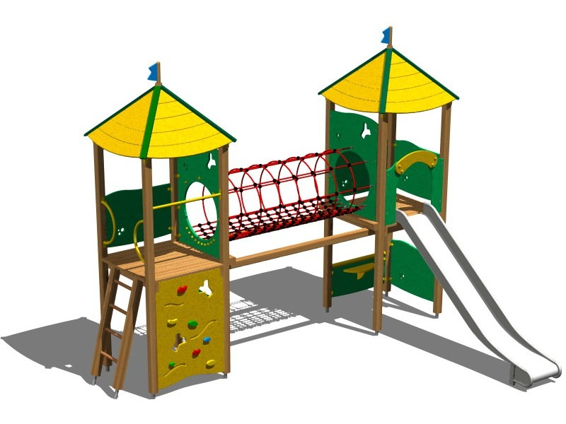 Stainless steel and wood Play structure CASTELLO PAMPA INOX by Legnolandia