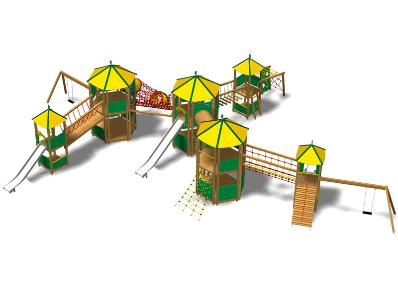Pine Play structure CASTELLO YIMALAYA MAXI INOX by Legnolandia