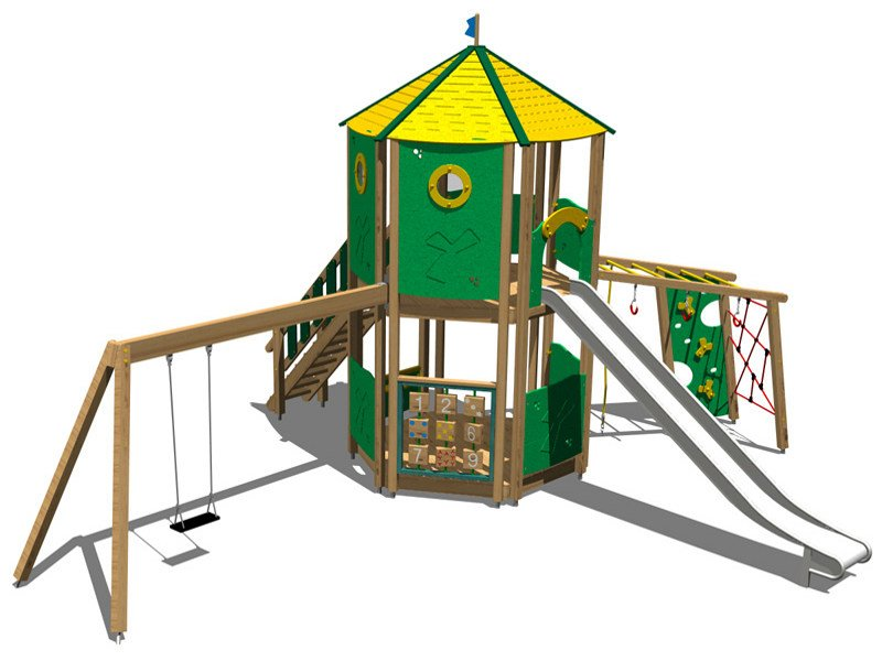 Stainless steel and wood Play structure CASTELLO DOLOMITI INOX by Legnolandia