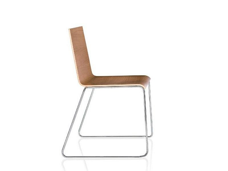 Sled base wooden chair CASABLANCA | Sled base chair by ALMA DESIGN