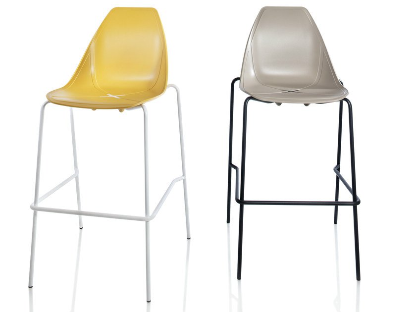 Stackable polypropylene barstool X STOOL | Stackable stool by ALMA DESIGN