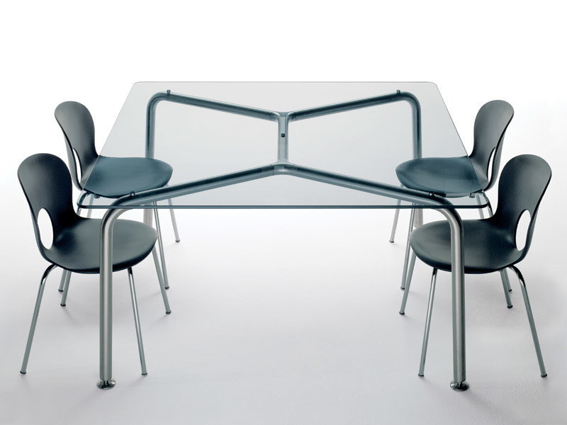Square crystal and steel table CONVITO | Square table by REXITE