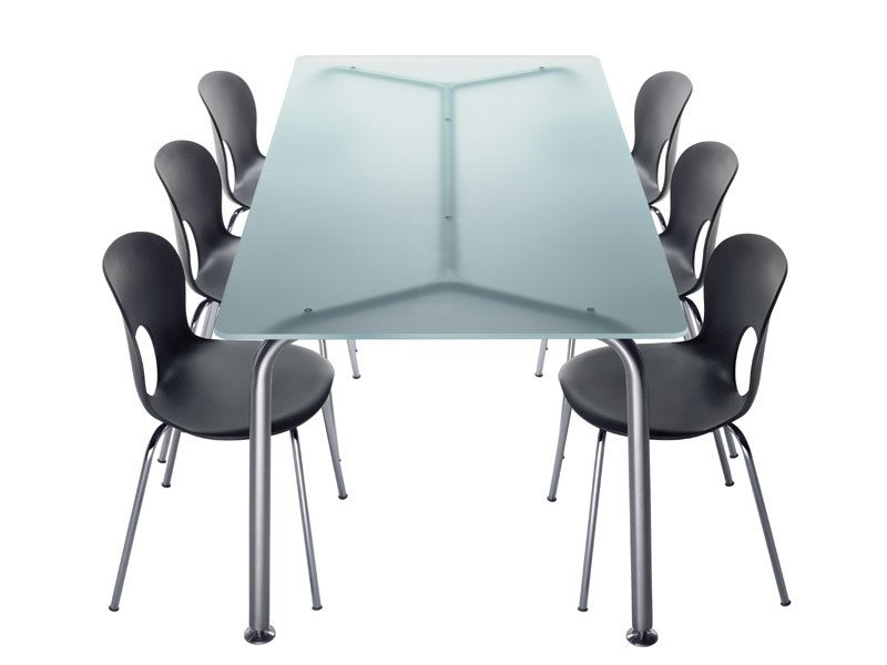 Rectangular crystal and steel table CONVITO   Rectangular table by REXITE