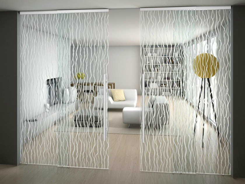 Glass sliding doors with rails for suspended ceilings SINTHESY LIGHT by FOA