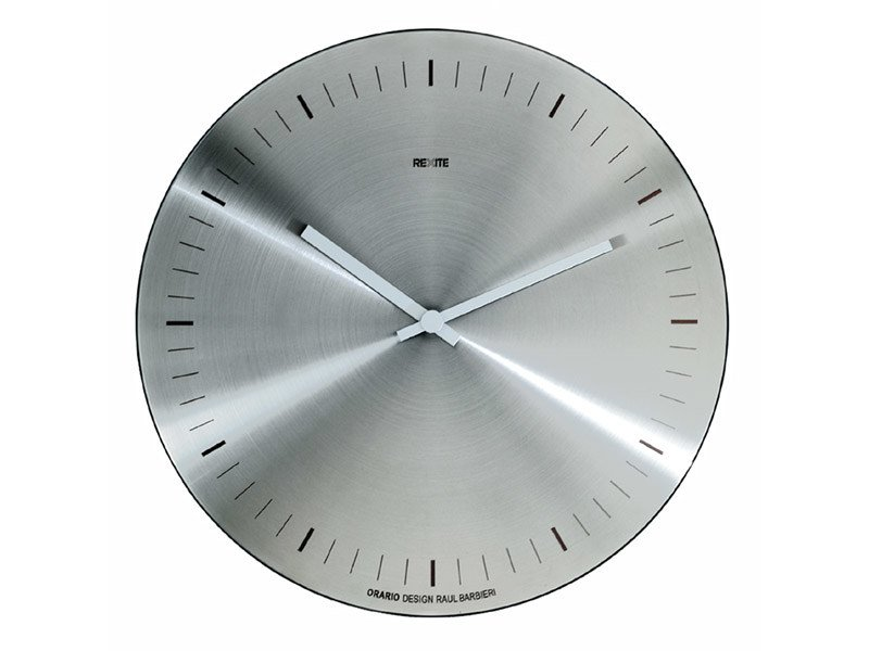 Wall-mounted brushed steel clock ORARIO | Brushed steel clock by REXITE