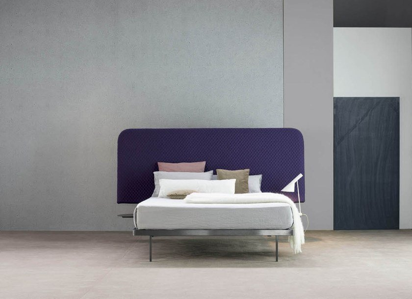 Double bed with removable cover with high headboard CONTRAST BED by Bonaldo