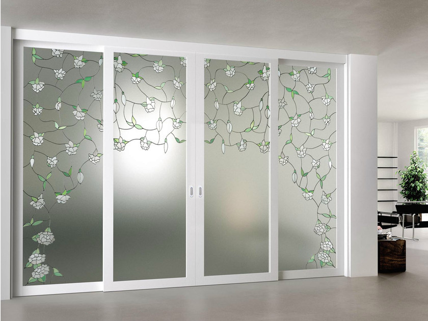 Sliding door with fixed side wings ARIANNA by FOA