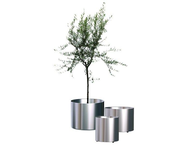 Brushed steel vase / plant pot NOX FLORA by REXITE